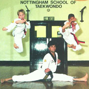 Master Vohra in side splits with Richard Bakewell and Lewis Harvey demonstrating flying side kick 1987.