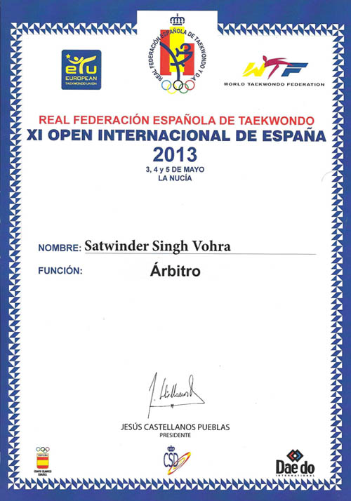 Spanish Open certificate 2013 referee