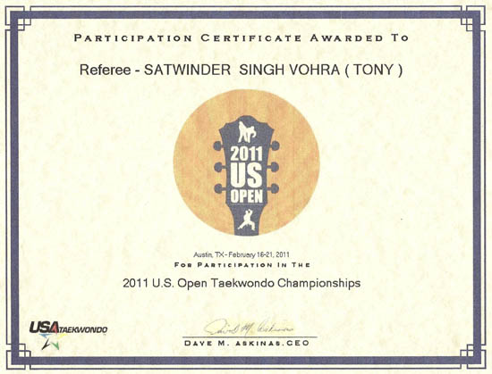 US open 2011 certificate of partiipation - 1a